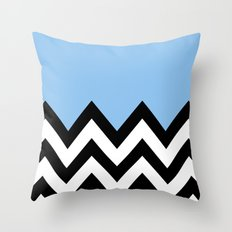 BLUE COLORBLOCK CHEVRON Throw Pillow