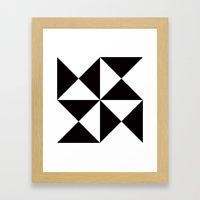 B/W triangle X4 pattern Framed Art Print
