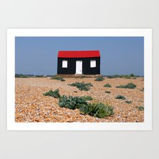 Beach Hut with a Red Roof Art Print