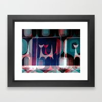 Atomic Cat And A Pattern Framed Art Print