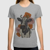 Moooo Womens Fitted Tee Athletic Grey SMALL