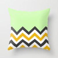 Color Blocked Chevron 13 Throw Pillow