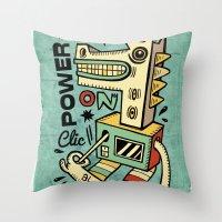 Power On - Blue Throw Pillow