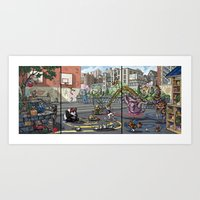 Baby Animal Play Scene Art Print