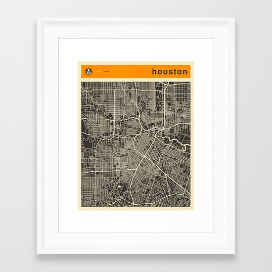 HOUSTON MAP Framed Art Print by Jazzberry