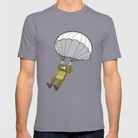 American Paratrooper Parachute Cartoon Mens Fitted Tee Slate SMALL