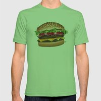 junk food - burger Mens Fitted Tee Grass SMALL