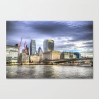 City Of London And River… Canvas Print