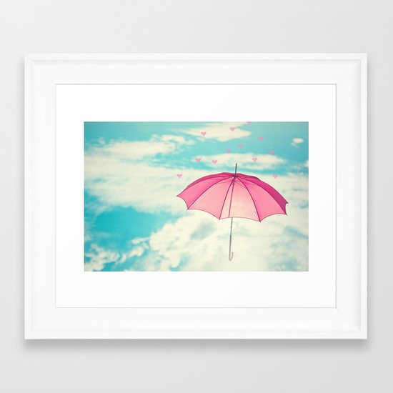Raining Hearts Framed Art Print
