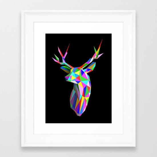 3D Stag Black Background Framed Art Print