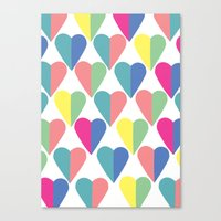 Coloured Hearts Canvas Print