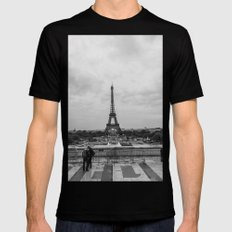 Paris Skyline  Mens Fitted Tee Black SMALL