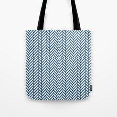 Herringbone Navy Tote Bag