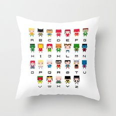 Superhero Alphabet Throw Pillow