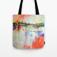 on the water,  expressive landscape, abstract Tote Bag