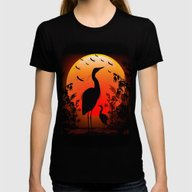 Heron Shape On Sunset Womens Fitted Tee Black SMALL