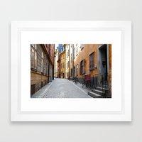 Stockholm. A Thin Street in Gamla Stan Framed Art Print