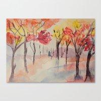Autumn Trees Watercolour Canvas Print
