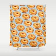 Glazed Doughnut Pattern Shower Curtain