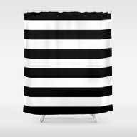 Stripe Black & White Hor… Shower Curtain