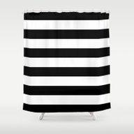 Stripe Black & White Hor… Shower Curtain