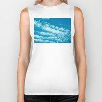 Beautiful blue sky and fluffy clouds Biker Tank