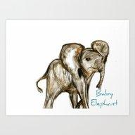 Baby Elephant Blue Art Print