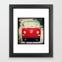 Red VW Bus Framed Art Print