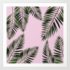 Watercolor tropical palm leaves pink Art Print