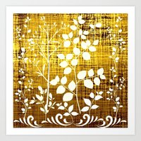 White Leaves Decor On Go… Art Print
