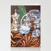 Still life study of Silver Stationery Cards