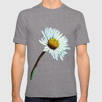 White Daisy  Mens Fitted Tee Tri-Grey SMALL