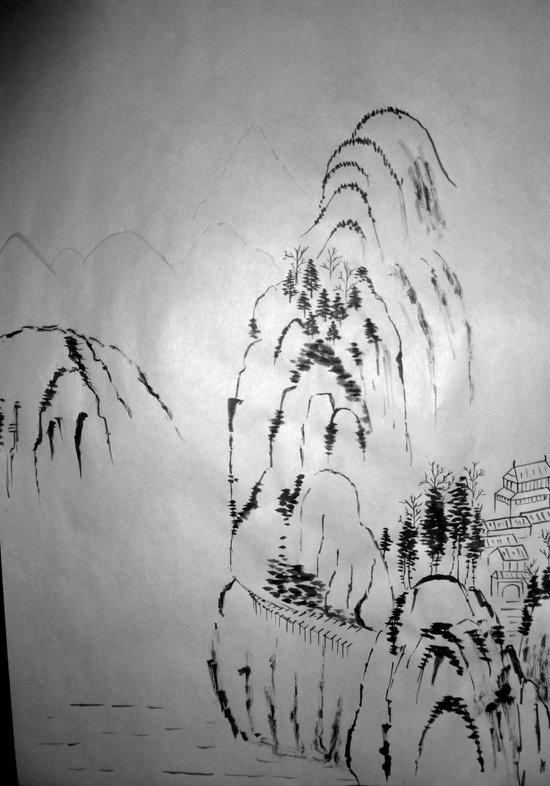 Sumi-e mountains Art Print