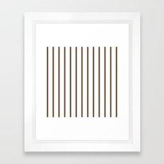 Vertical Lines (Coffee/White) Framed Art Print