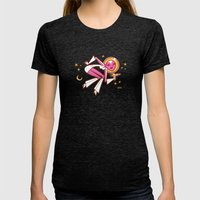 Space Velvet Womens Fitted Tee Tri-Black SMALL