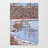 Snowy Riverbank Canvas Print