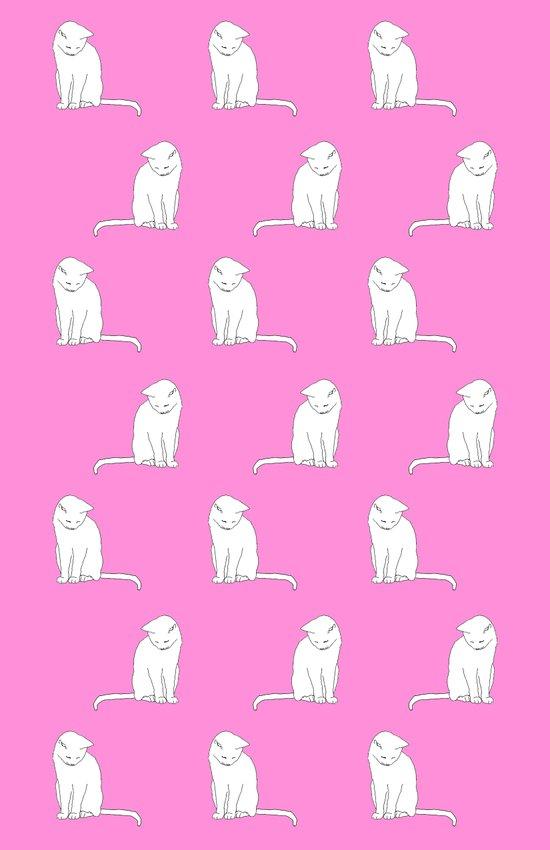white cat pattern pink background Art Print