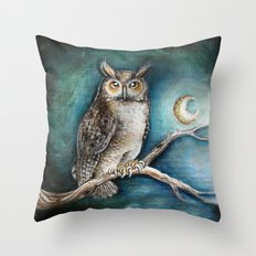 Moon Owl Throw Pillow