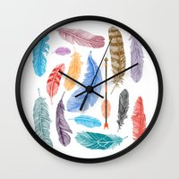 Feathers on White Wall Clock