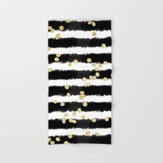 Modern black watercolor stripes chic gold confetti Hand & Bath Towel