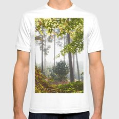 Pine trees viewed through autumnal Beech tree leaves. Norfolk, UK. Mens Fitted Tee White SMALL