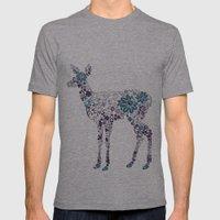 Flower Deer Mens Fitted Tee Athletic Grey SMALL