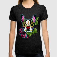 Day of the Dead Boston Terrier Sugar Skull Dog Womens Fitted Tee Tri-Black SMALL