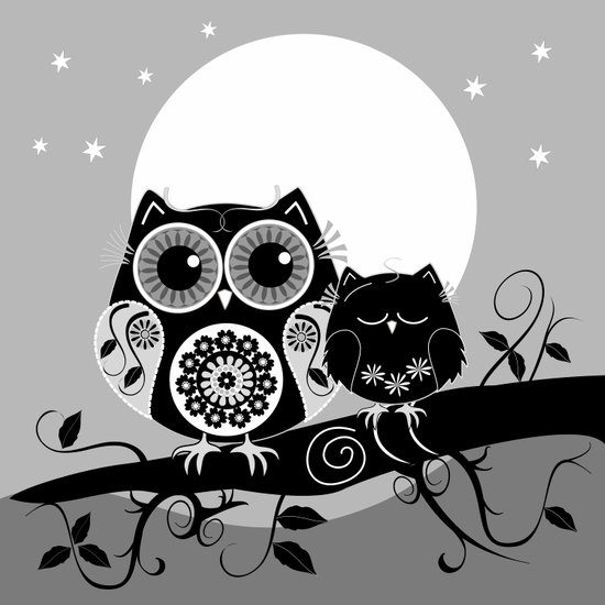 B&W Flower power Owl and her Sleepy Baby Art Print