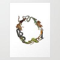 Reptile Wreath Art Print