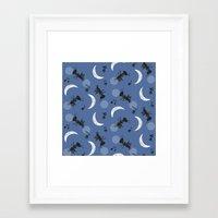 Moonlight Cricket Serenade Framed Art Print