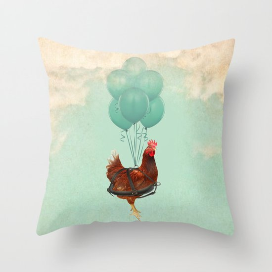 "Chickens can't fly (""The sky is falling!"") Throw Pillow"