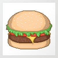 Cheeseburger Pixel Art Print
