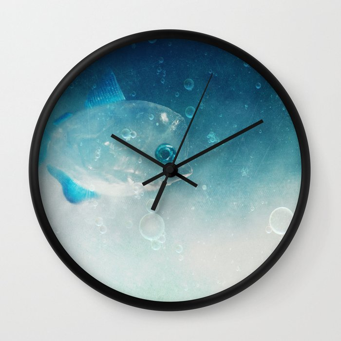 Crystal fish wall clock by sensualpatterns society6 for Fish wall clock