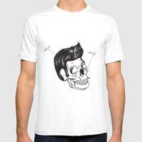 Elvis Skull Mens Fitted Tee White SMALL